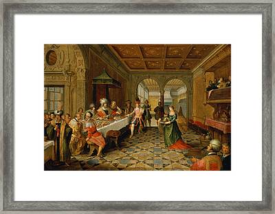 Salome Presenting The Head Of St. John The Baptist To King Herod Oil On Panel Framed Print by Frans Francken