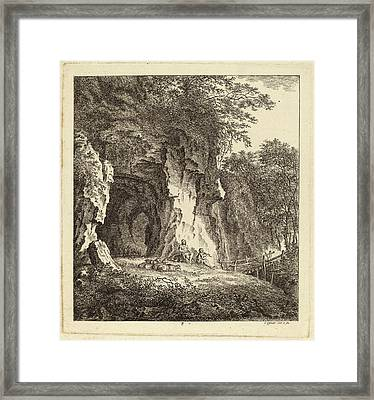 Salomon Gessner, Two Shepherds In A Rocky Landscape Framed Print by Quint Lox