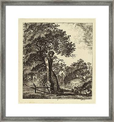 Salomon Gessner, Wooded Landscape With A Herd Of Goats Framed Print by Quint Lox
