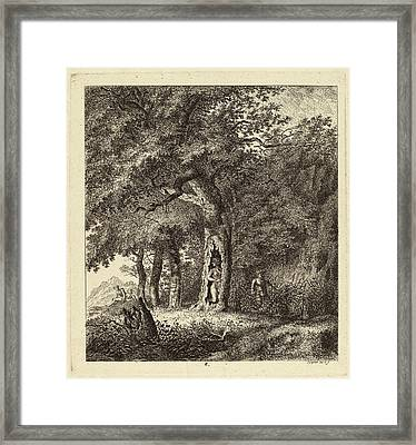 Salomon Gessner, Wooded Landscape With A Nymph And A Satyr Framed Print by Quint Lox