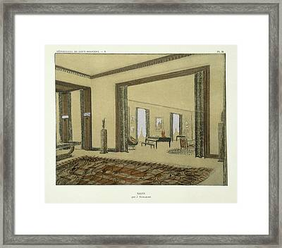Salon, From Repertoire Of Modern Taste Framed Print by Jacques-Emile Ruhlmann