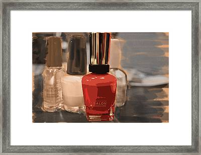 Salon Manicure - Charcoal Rendering Framed Print