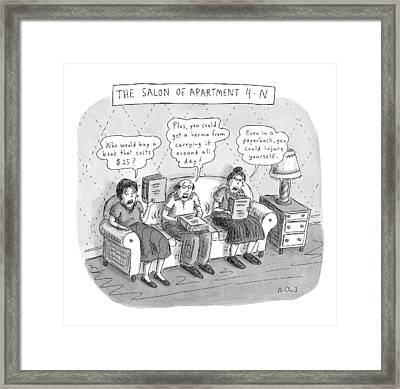 Salon Of Apartment 4-n Framed Print by Roz Chast