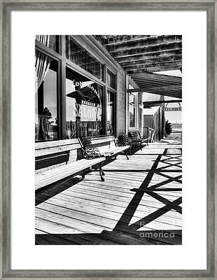 Saloon Shadows Bw Framed Print by Mel Steinhauer
