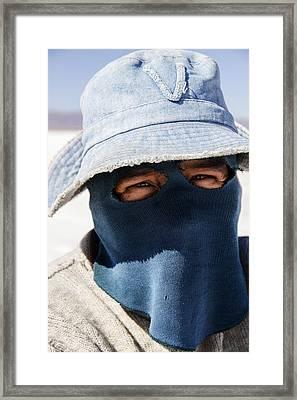 Salt Flat Miner Framed Print by For Ninety One Days