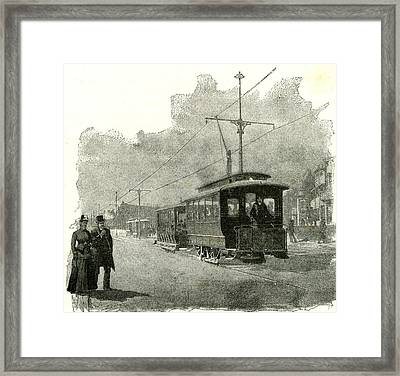 Salt Lake City An Electric Tramway By Overhead Connection Framed Print
