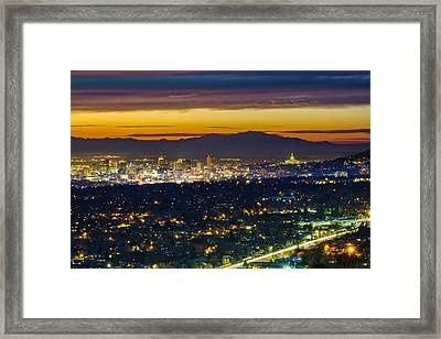 Salt Lake City At Dusk Framed Print