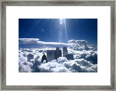 Salt Lake City In The Clouds Framed Print by Barbara D Richards