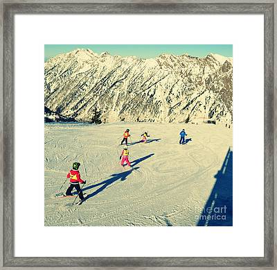 Salt Lake City Kids Skiing On The Mountain Framed Print by Patricia Awapara