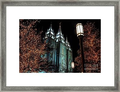 Salt Lake City Mormon Temple Christmas Lights Framed Print
