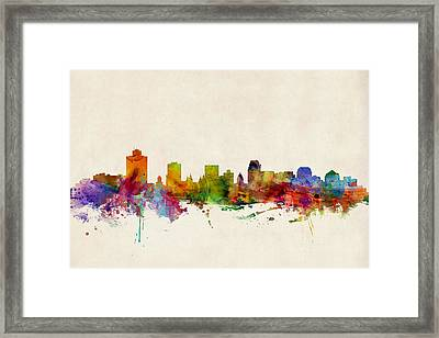 Salt Lake City Skyline Framed Print by Michael Tompsett