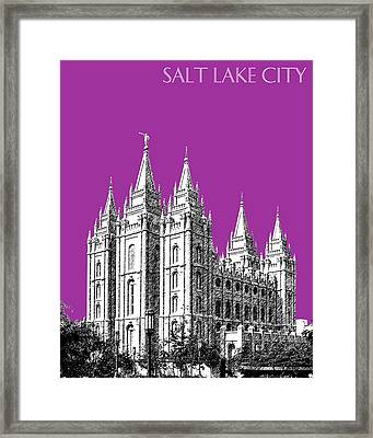 Salt Lake City Skyline Mormon Temple - Plum Framed Print by DB Artist