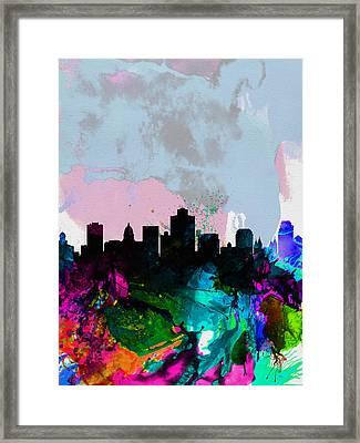 Salt Lake City Watercolor Skyline Framed Print by Naxart Studio