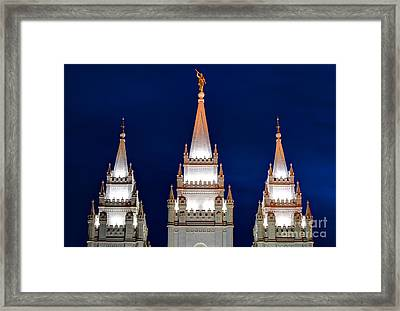 Salt Lake Lds Mormon Temple At Night Framed Print