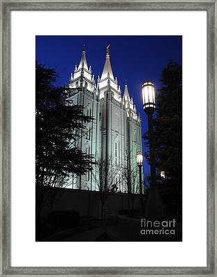 Salt Lake Mormon Temple At Night Framed Print by Gary Whitton