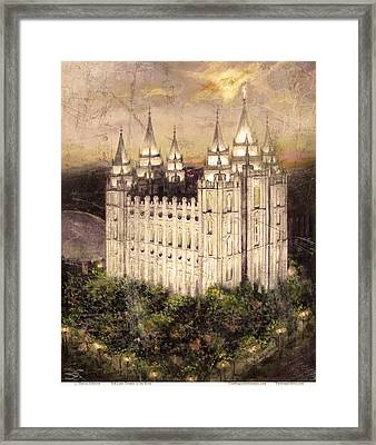 Salt Lake Temple In The Evening  Antique Pink Framed Print
