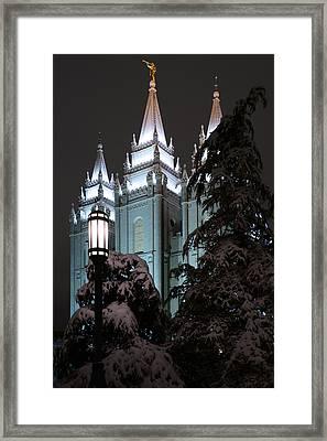 Salt Lake Temple In The Snow Framed Print by Dustin  LeFevre