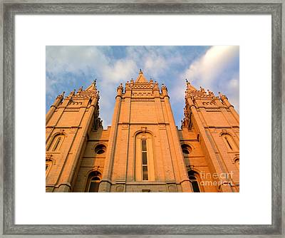 Salt Lake Temple Sunset Closeup Framed Print by Jenny Wood