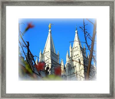 Salt Lake Temple Top Framed Print by Heidi Manly