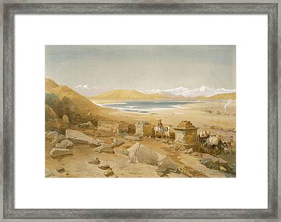 Salt Lake - Thibet, From India Ancient Framed Print by William 'Crimea' Simpson