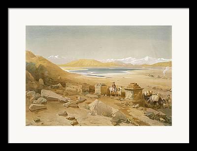 Desert Lake Drawings Framed Prints