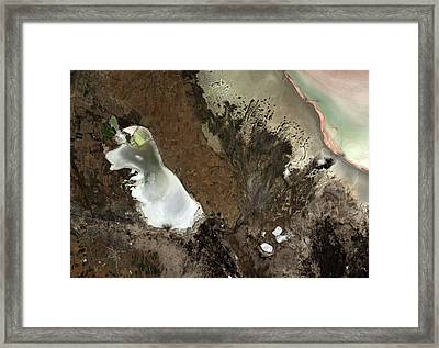 Salt Lakes Framed Print by Jaxa/european Space Agency