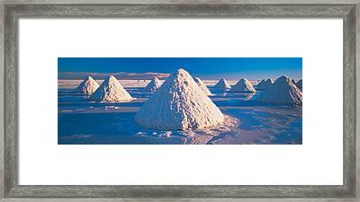 Salt Pyramids On Salt Flat, Salar De Framed Print