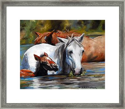Framed Print featuring the pastel Salt River Foal by Karen Kennedy Chatham