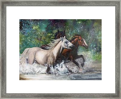 Framed Print featuring the painting Salt River Horseplay by Karen Kennedy Chatham