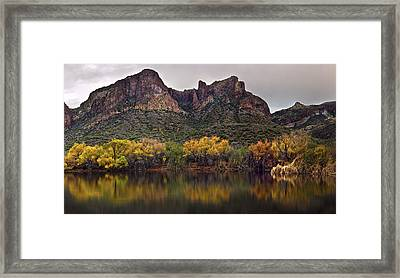 Salt River Mountain Reflections Framed Print by Dave Dilli