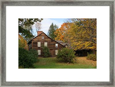 Saltbox In Fall Framed Print by Lois Lepisto