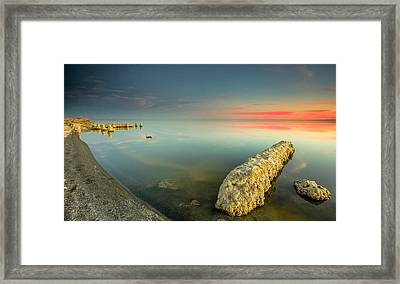 Framed Print featuring the photograph Salton Sea Sunset by Robert  Aycock