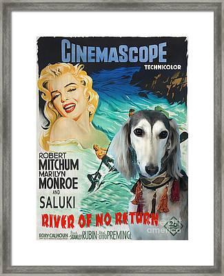 Saluki Art - River Of No Return Movie Poster Framed Print by Sandra Sij