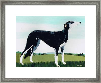 Saluki Cross Framed Print