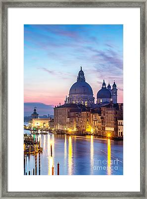 Salute Church And Grand Canal At Sunrise - Venice Framed Print by Matteo Colombo