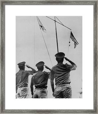Saluting Soldiers Framed Print by Retro Images Archive