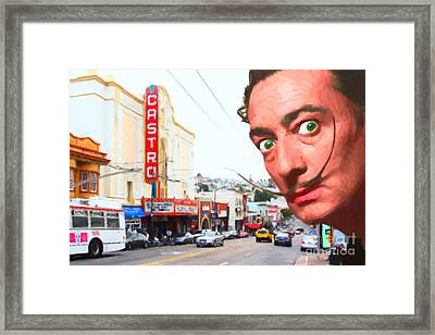 Salvador Dali Arrives In San Francisco Castro District 20141213 Framed Print by Wingsdomain Art and Photography