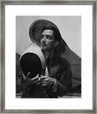 Salvador Dali Holding Fencing Equipment Framed Print