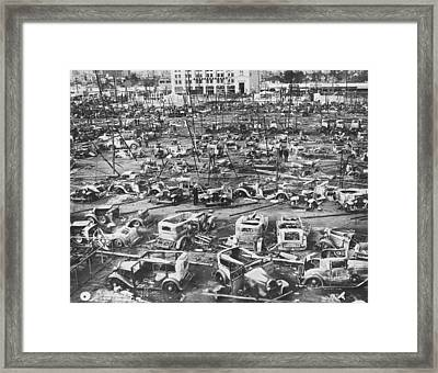 Salvage Yard Row In La Framed Print by Underwood Archives