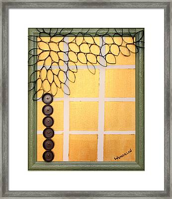 Salvaged Paper Or Plastic Tree 01 Framed Print