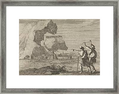 Salzburg, Austria, Is Destroyed By A Crumbling Mountain Framed Print by Caspar Luyken And Pieter Van Der Aa I
