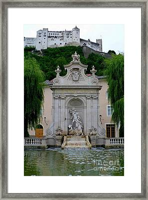 Salzburg Castle With Fountain Framed Print by Carol Groenen