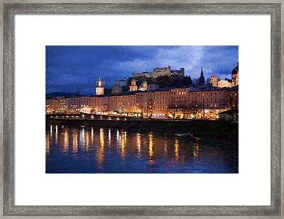 Salzburg During The Blue Hour Framed Print by Shirley Radabaugh