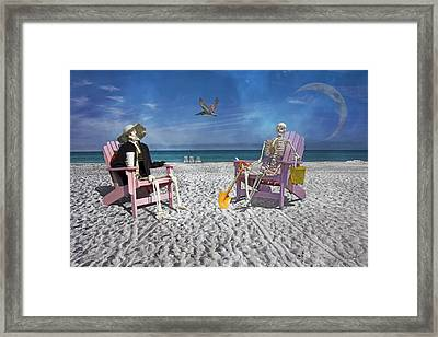 Sam And His Friend Visit Long Boat Key Framed Print by Betsy Knapp