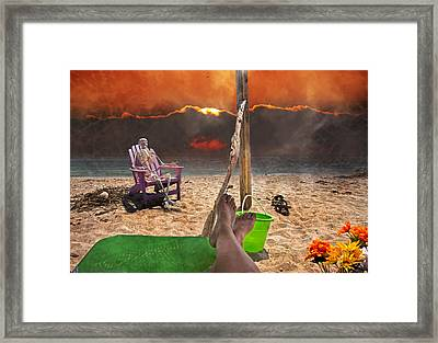 Sam Enjoys A Beach Evening Framed Print by Betsy Knapp