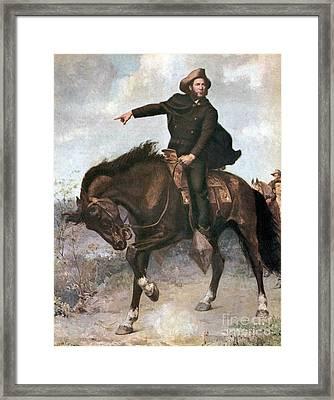 Sam Houston At Battle Of San Jacinto Framed Print by Photo Researchers