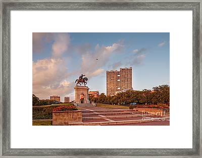 Sam Houston Statue Bathed In Golden Hour Light - Hermann Park - Houston Texas Framed Print by Silvio Ligutti