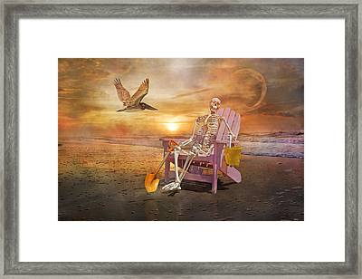 Sam Is Tickled With A Visiting Pelican Framed Print by Betsy Knapp