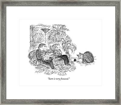 Sam Is Very Focussed Framed Print by Edward Koren