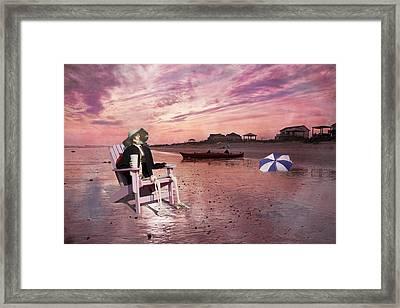 Sam Takes A Break From Kayaking Framed Print